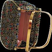 Vintage 1960s Sparkling Black Gold Red Blue Brocade Evening Handbag with Unique Frame