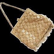 Vintage 1960s Gold Lame Evening Bag Purse Handbag with Gold Metallic Snowflake Dangles