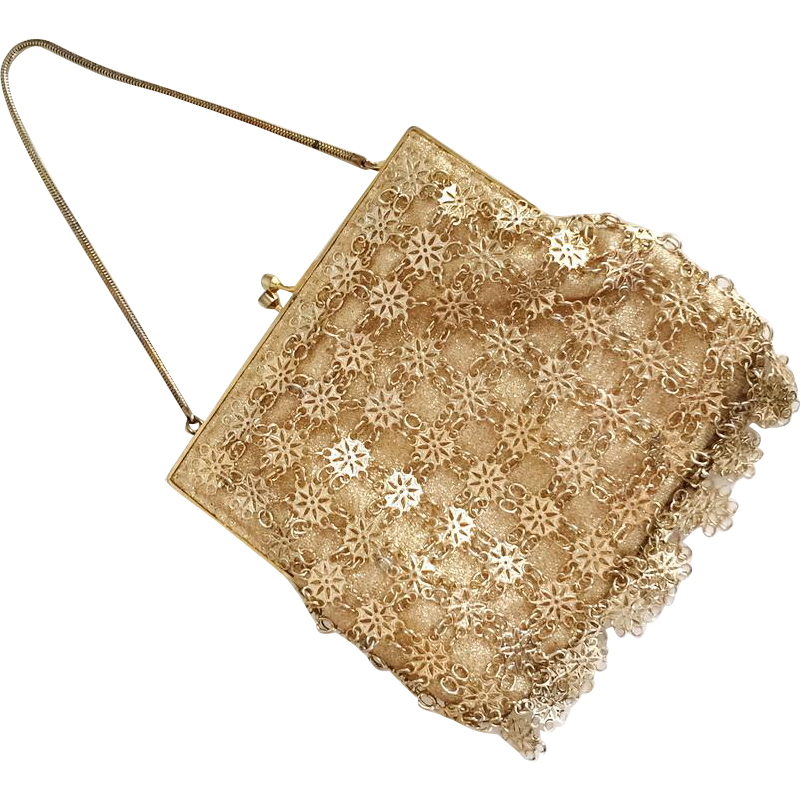 Vintage 1960s Gold Lame Evening Bag Purse Handbag with Gold Metallic Snowflake Dangles
