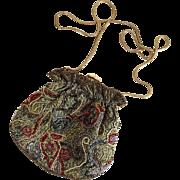 Vintage 1980s Serpentine Snake Chain Bead Encrusted Evening Bag Purse