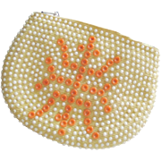 Vintage 1960s Beaded Corduroy Zipper Coin Clutch Wallet Small Hand Bag Purse
