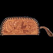 Vintage 1970s Tooled Leather Western Clutch Wallet Handbag Purse