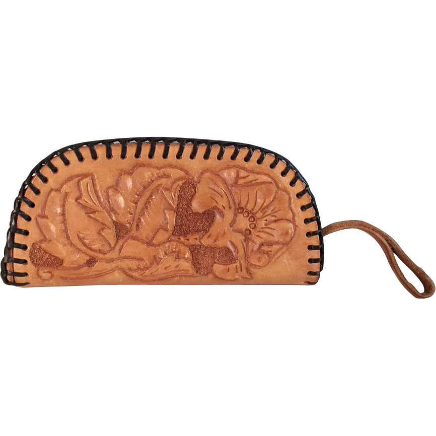 Vintage 1970s Tooled Leather Western Clutch Wallet Handbag Purse