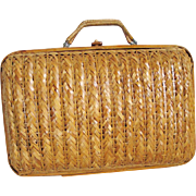 Vintage 1970s Woven Summer Purse with Wood Latch