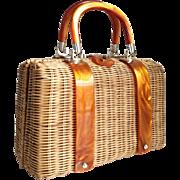 Vintage 1960s Lesco Lona Summer Wicker Straw Purse with Orange Lucite Trim