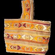 Vintage 1960s Reversible Tote Bag Natural Burlap Floral Print Woodstock Hippie Purse