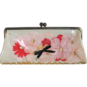Vintage 1960s Kitschy Pink Flowers Vinyl Envelope Purse Clutch Handbag