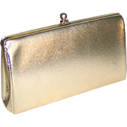 Vintage 1960s Shiny Gold Evening Purse Clutch Envelope Handbag