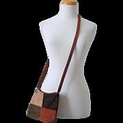 Vintage 1970s Suede Color Block Cross Body Sling Shoulder Bag Purse