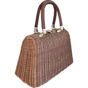 Vintage 1960s Brown Wicker Look Straw Summer Handbag Purse Lesco Lona