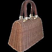 Vintage 1960s Brown Wicker Look Straw Summer Handbag Purse Lesco Lona