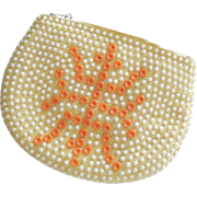 Vintage 1970s Beaded Corduroy Zipper Coin Clutch Wallet