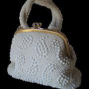 Vintage 1960s Vanilla White Paisley Beaded Kisslock Purse Handbag Hong Kong