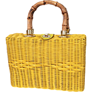 Vintage 1960s Bright Sunshine Yellow Woven Wicker Handbag Purse