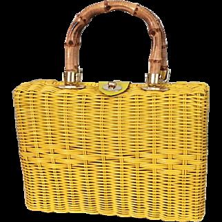 Vintage 1960s Bright Sunshine Yellow Woven Wicker Handbag Purse