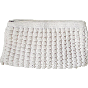 Vintage 1960s Corde Crochet Summer Clutch Purse Creamy White
