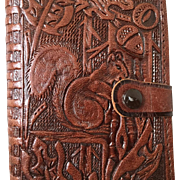 Vintage 1950s Tooled Leather Wallet with Squirrel and Oak Leaves Design