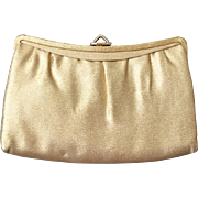 Vintage 1960s Gold Lurex Handbag Purse Clutch Evening Bag