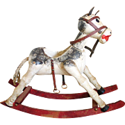 Vintage 1980s Wooden Rocking Horse Christmas Holiday Winter Decor