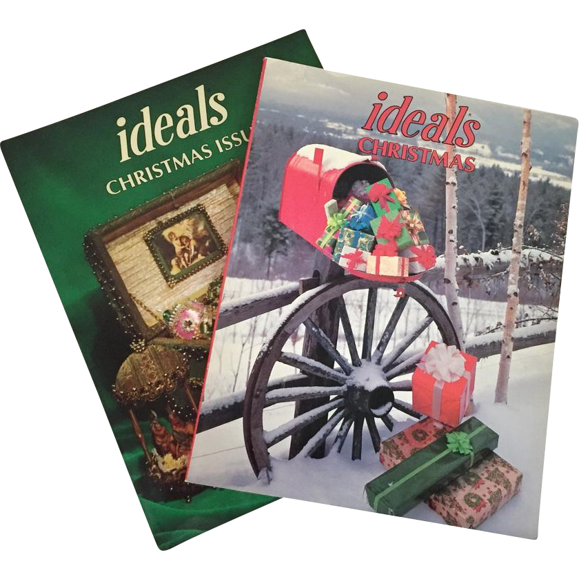 Vintage 1970s 1980s Red and Green Ideals Christmas Magazine Holiday Collectible Books Pair of Two