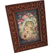 Vintage 1970s Folk Art Walnut Slice Frame with Jerrandiz Madonna and Child Print