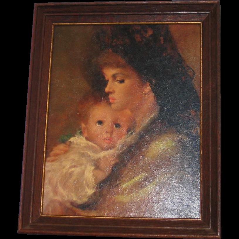 Vintage 1960s Beautiful Madonna & Child Framed Print Dark Tones Holiday Christmas Reason For The Season
