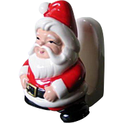Vintage 1970s Lefton Santa Napkin Holder Red White Ceramic Christmas Holiday Decoration