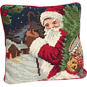 Vintage 1992 Christmas Santa Claus with Teddy Bear Holiday Needlepoint Decorator Pillow Gift