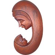 Vintage 1970s Modern Walnut Wood Carved Madonna and Child Wall Hanging Art