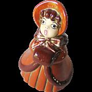 Vintage Ceramic Victorian Style Caroler Figurine Signed Vere