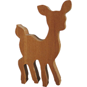 Vintage Wood Block Reindeer Figurine Toy Decor