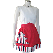 Vintage 1950s Cotton Holiday Christmas Tree Apron in Red White and Black