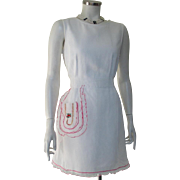 Vintage 1960s Sheer White Hostess Holiday Apron with Red Trim and Embroidered Bells