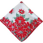Vintage 1950s Red and Green Poinsettia Christmas Holiday Handkerchief Hanky