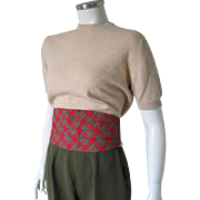 Vintage 1960s Red and Green Tartan Plaid Cummerbund Belt Menswear Unisex Christmas Holiday