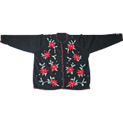 Vintage 1980s Black Cardigan Christmas Sweater UCS Red Poinsettias L XL