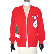 Vintage Arnie Palmer Style Golf Cardigan with Snowman and Tree UCS XL