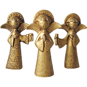 Vintage 1970s Mod Trio of Angels Matte Gold for Christmas Decor
