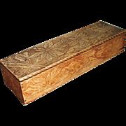 Victorian Wood Pyrography Poinsettia Glove Trinket Dresser Vanity Box