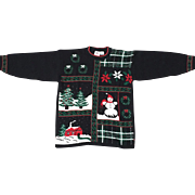 Vintage 1980s Black Red Green White Pullover Christmas Sweater Jumper M