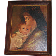 Vintage 1960s Madonna & Child Framed Print Dark Tones Holiday Decor