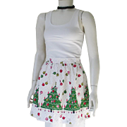 Vintage 1960s Christmas Trees Holiday Apron Red Green Pink and White Novelty Print