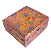 Vintage Early 1900s Wood Burned Pyrography Poinsettia Vanity Trinket Jewelry Box