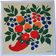 Brightly Colored Vintage Signed Berggren Originals Decorative Ceramic Tile Trivet Cornucopia