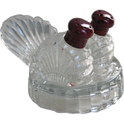 Vintage 1950s Tiny Turkey Shaped Glass Salt Pepper Shakers on a Tray