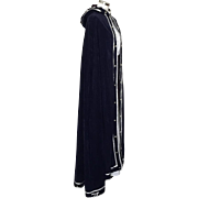 Vintage 1970s Dark Midnight Blue Velveteen Hooded Full Length Cape with Silver Trim Costume Drama Theater