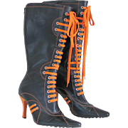 Black and Orange Lace Up Knee High Heel Boots Glaze 8
