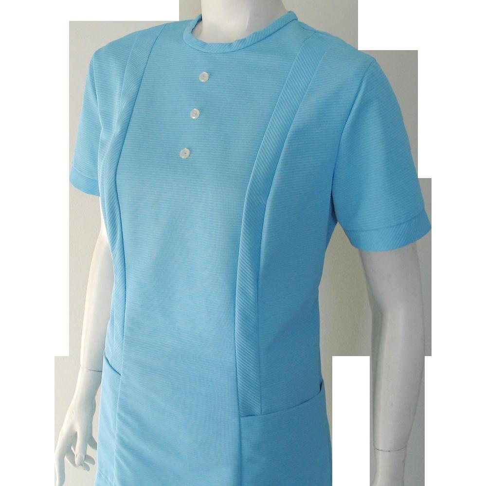 Vintage 1960s Pale Blue Pants Set Tunic Dental Assistant Uniform by Crest M