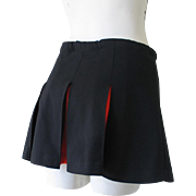 Vintage Cheerleader Pleated Mini Skirt in Black with Orange M