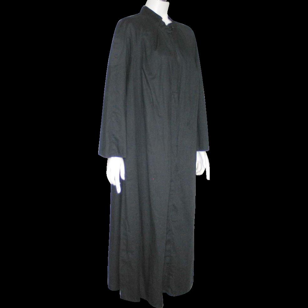 Vintage 1950s 1960s Black Priest's Robe Choir Robe Halloween Costume L XL